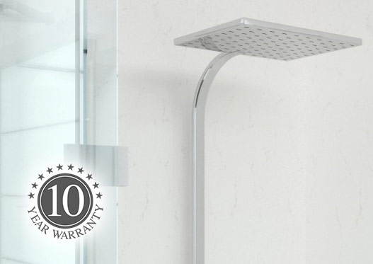 Shower with white shower panels and a shower head