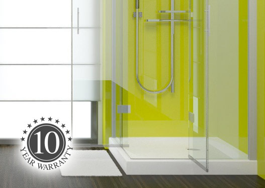 Shower cubicle fitted with lime green shower wall panels