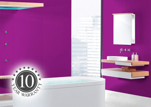 Purple Proclad panel fitted in modern bathroom
