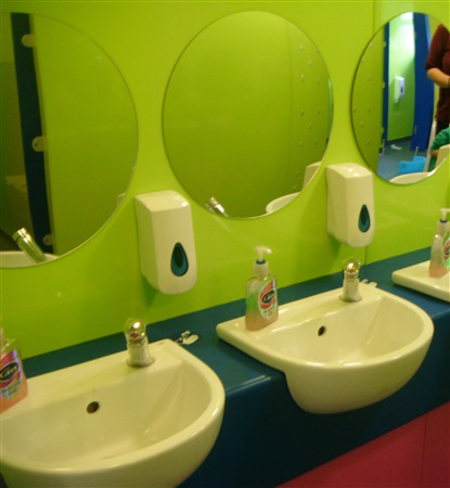 Proclad Lime sheets in a Nursery bathroom