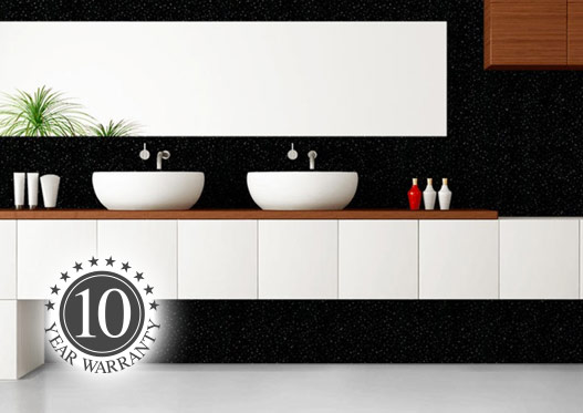 Bathroom with two sinks and black sparkle bathroom wall panels