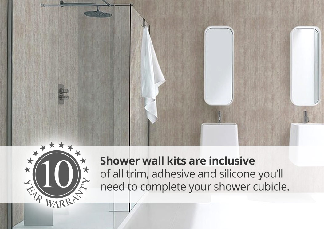 plastic wall panels in contemporary bathroom