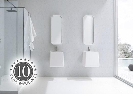 Shower panels in a modern bathroom