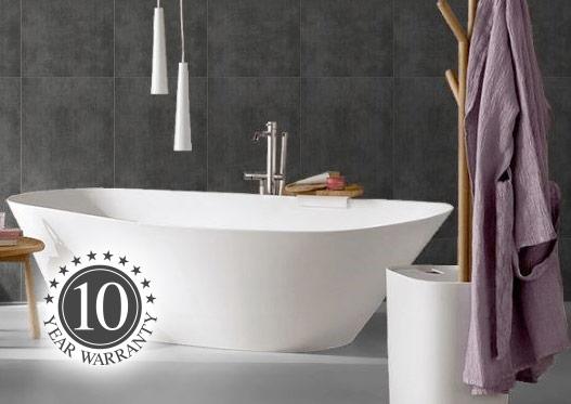 Grey Aquawall wall boards fitted in modern bathroom